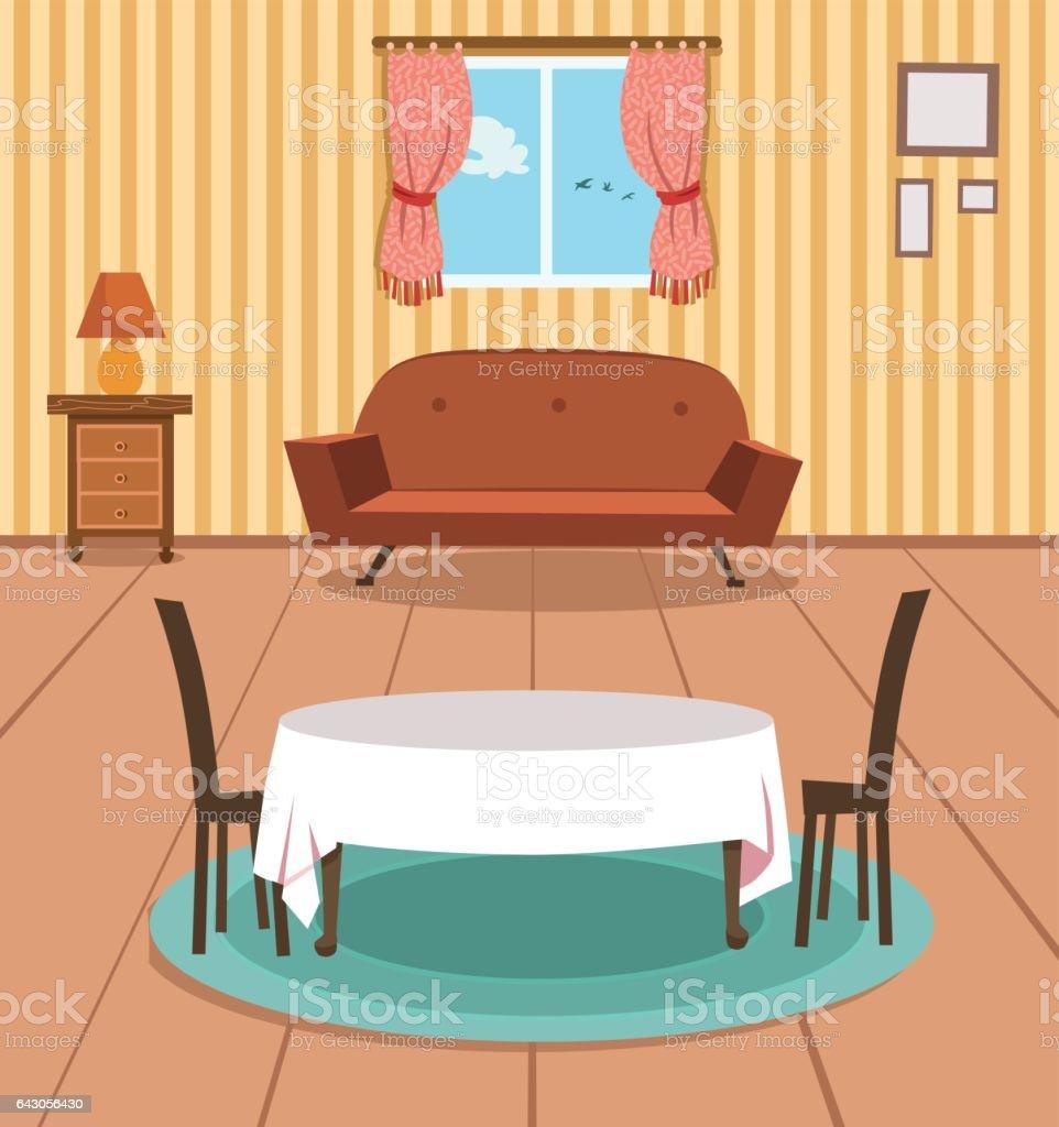 Dining Room Vector Art Illustration