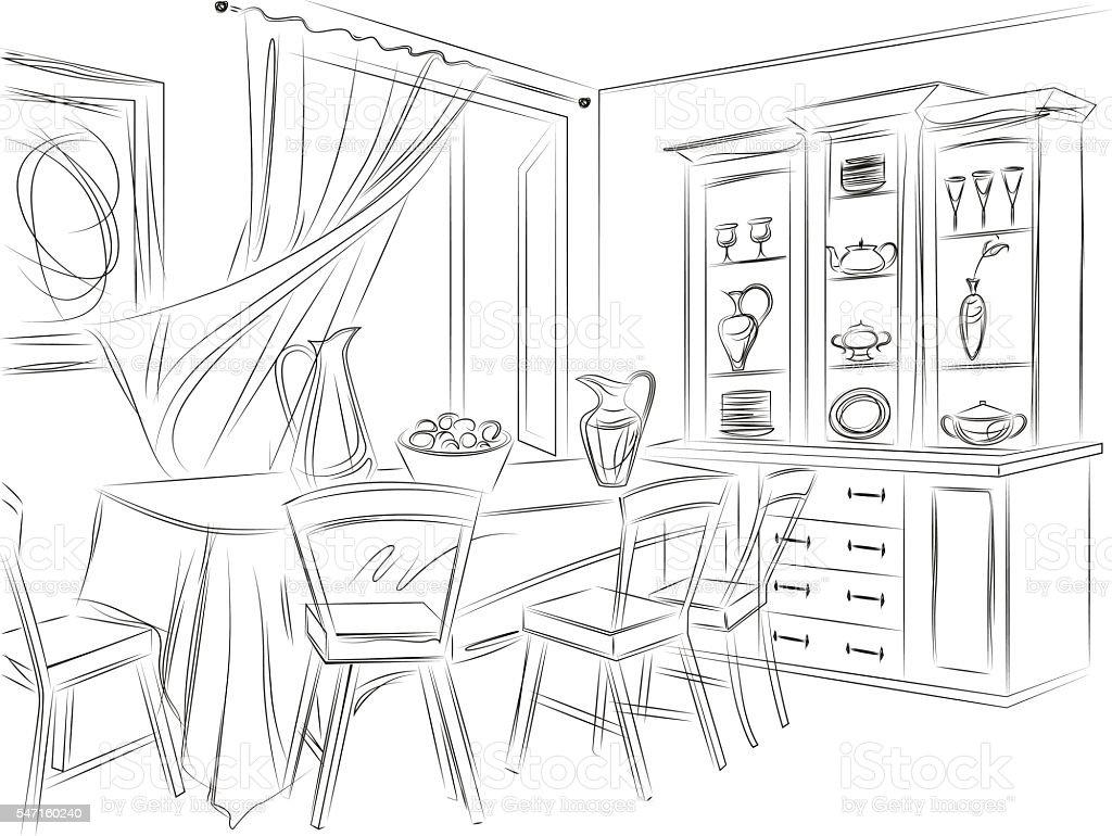 Dining Room With Buffet Vecteurs Libres De Droits Et Plus D