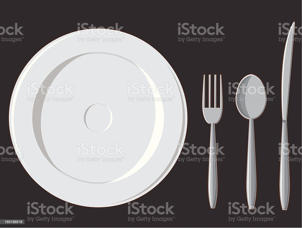 Dining Set - Plate, Fork, Spoon & Knife royalty-free stock vector art