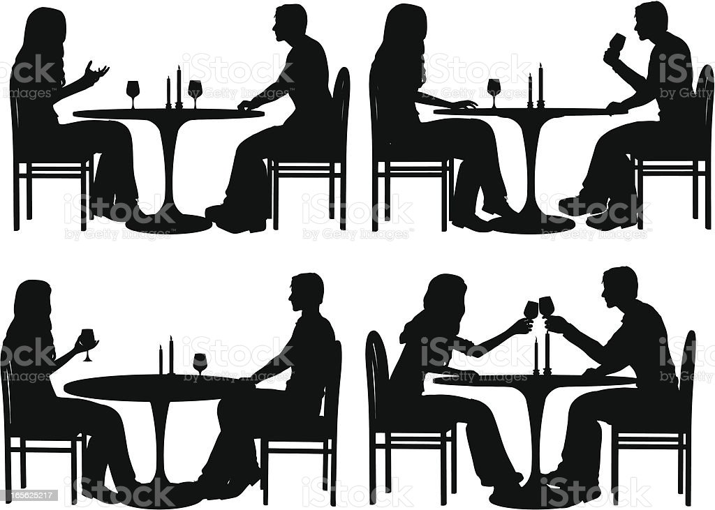 Dining Silhouette Collection vector art illustration