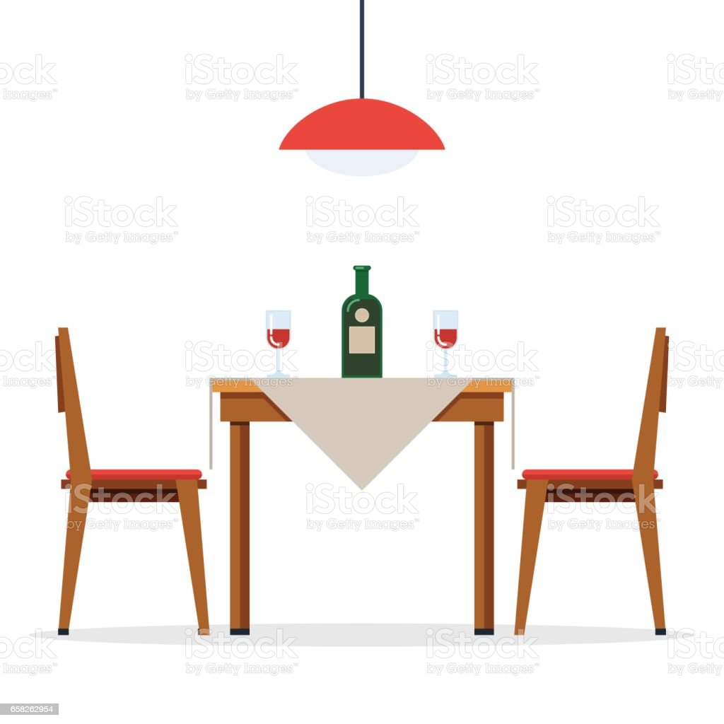 Dining table and chairs with wine vector art illustration