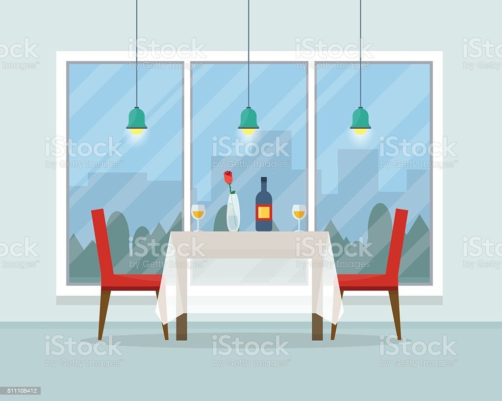 Dining table for date with glasses of wine vector art illustration