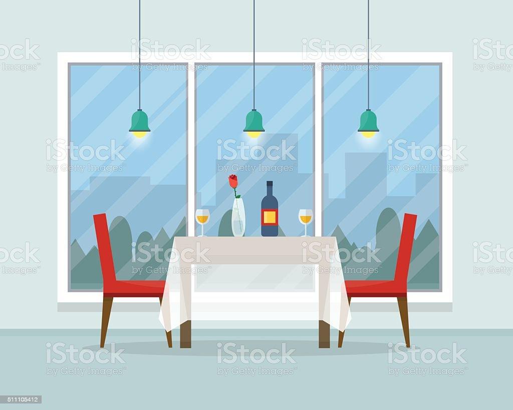 ダイニングテーブル、グラスワインの日 ベクターアートイラスト