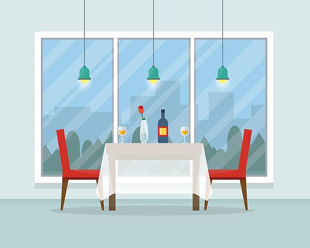 illustrazioni stock, clip art, cartoni animati e icone di tendenza di tavolo da pranzo per data con bicchieri di vino - dinner couple restaurant