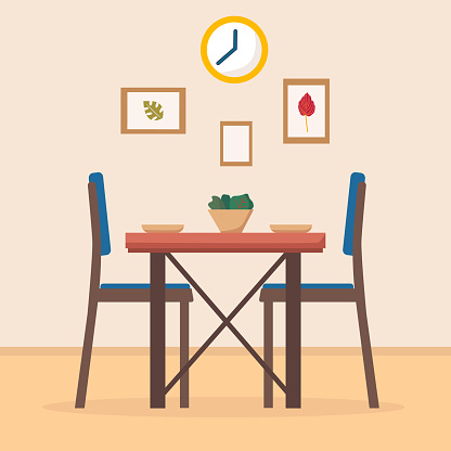 Dining Table In Kitchen With Chairs Clocks Frames Plates ...