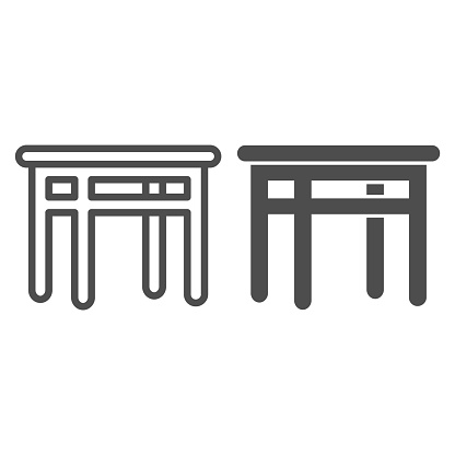 Dining table line and solid icon, Kitchen interior concept, Furniture for dining room sign on white background, wooden table icon in outline style for mobile concept and web design. Vector graphics.