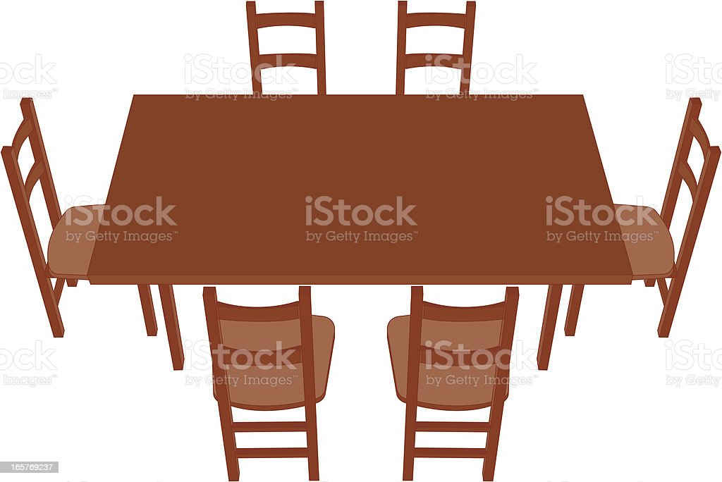 dining table perspective vector art illustration