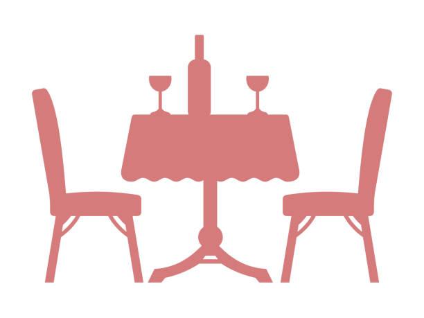stockillustraties, clipart, cartoons en iconen met eettafel silhouet - breakfast table