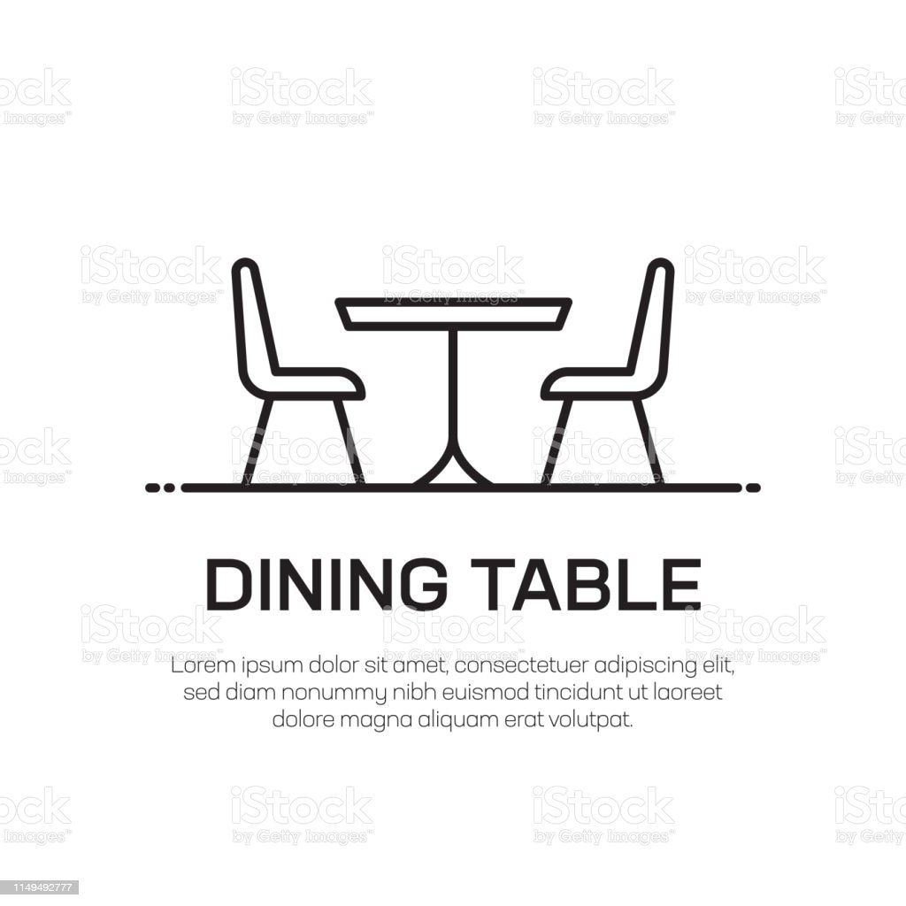 Dining Table Vector Line Icon Simple Thin Line Icon ...