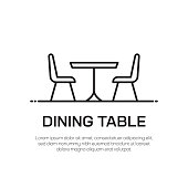 Dining Table Vector Line Icon - Simple Thin Line Icon, Premium Quality Design Element