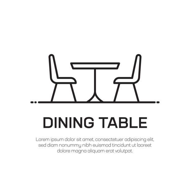 ikona linii wektorowej stołu jadowego - prosta cienka ikona linii, element projektowania premium - krzesło stock illustrations