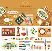 Dining table with dishes in top view. Restaurant asian cuisine: chef prepares sushi and fish. Devices for cooking, kitchenware. Vector flat illustration