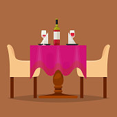 Dining tables in restaurant vector set lunch dinner date in cafe with glasses of wine Italian pizza Chineese food Oriental cuisine illustration isolated on background.