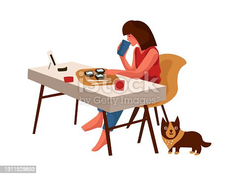 istock Dining woman. Cartoon female sitting at table and drinking. Character eating Asian food with chopsticks. Person having dinner alone at home. Isolated girl with dog. Vector routine scene 1311529853