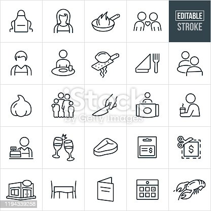 A set of Dining icons that include editable strokes or outlines using the EPS vector file. The icons include people dining out, restaurant, eating out, fine dining, apron, waiter, waitress, frying pan, cooking, two people on date, eating, lemon zester, place setting, two people seated at a dining table, garlic, family, kitchen knife, greeter, restaurant staff, cashier, toast, champagne, t-bone steak, gift card, coupon, dining table, menu, calendar and lobster.