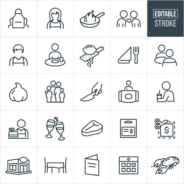 stockillustraties, clipart, cartoons en iconen met diningthin line-pictogrammen-bewerkbare lijn - gedekte tafel