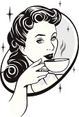 A retro illustration of a woman drinking coffe