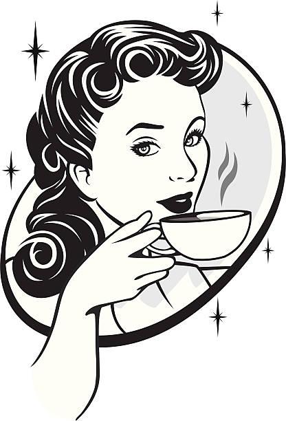dinking kaffee - hausfrau stock-grafiken, -clipart, -cartoons und -symbole