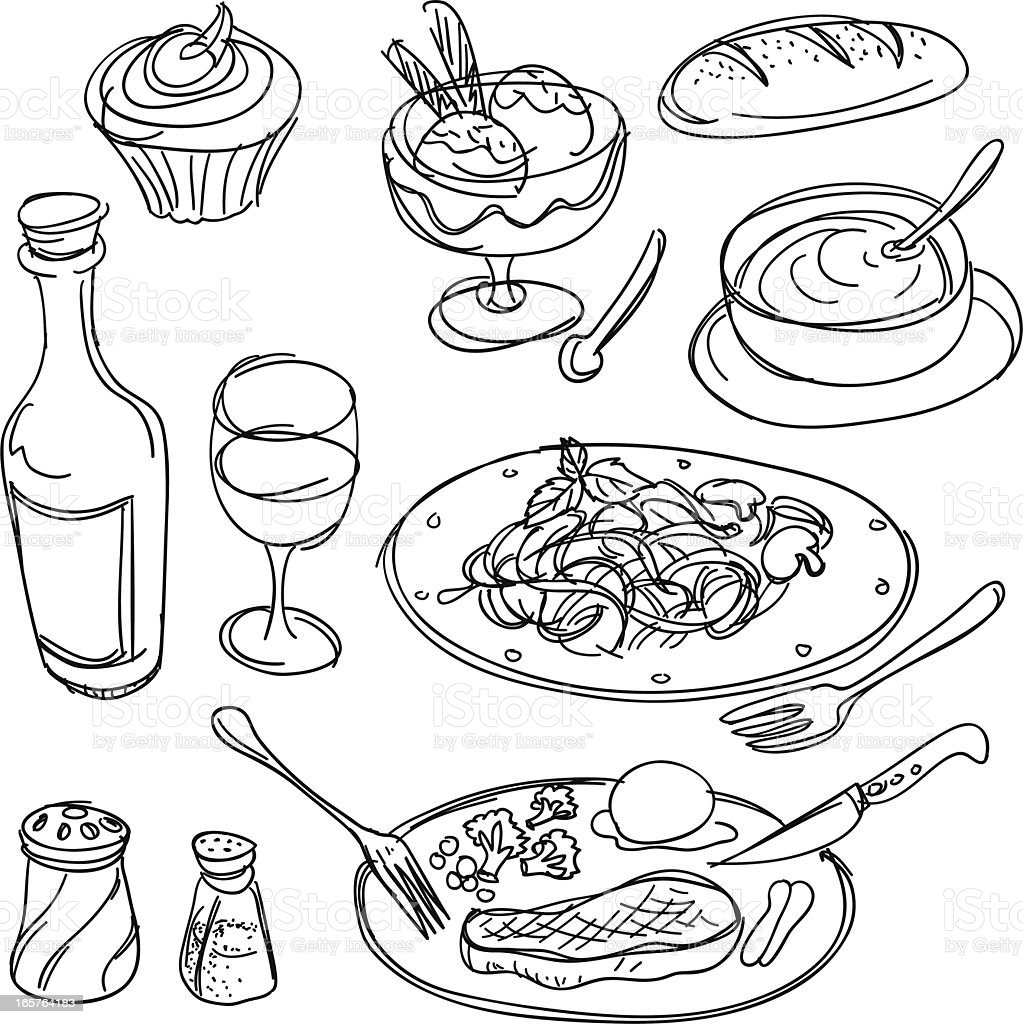 Dinner collection in Black and White vector art illustration