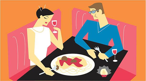 illustrazioni stock, clip art, cartoni animati e icone di tendenza di appuntamento a cena - dinner couple restaurant