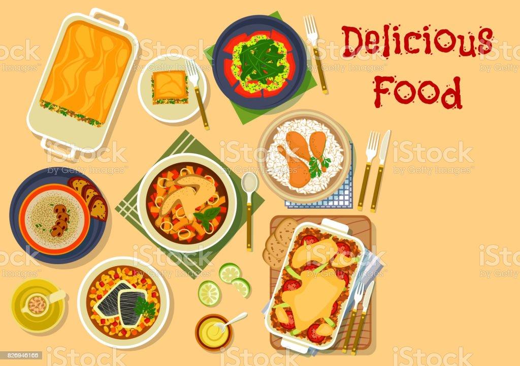 Dinner dishes icon for restaurant menu design vector art illustration