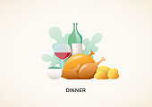 Dinner food served with chicken, peas, red wine and potatoes illustration vector background.