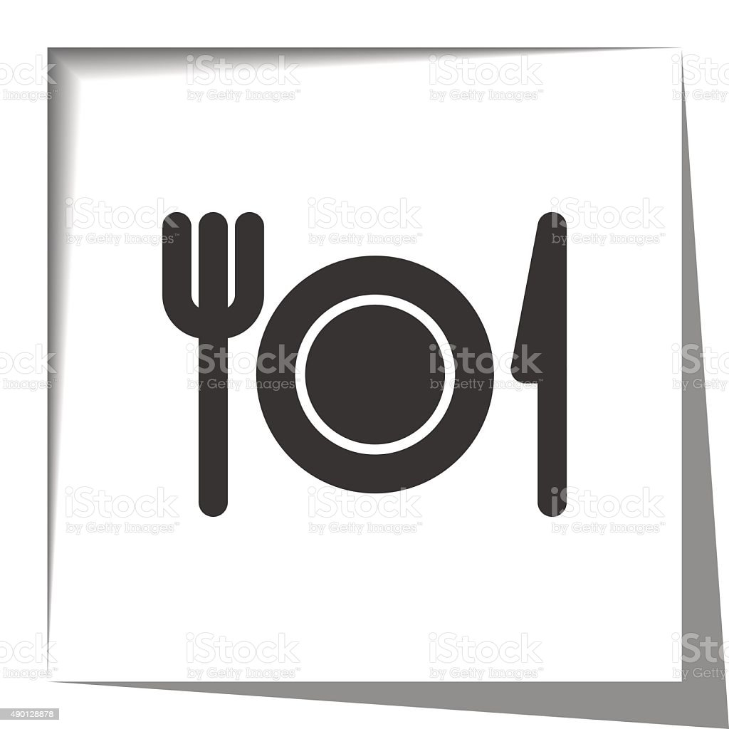 Dinner icon with cut out shadow effect vector art illustration