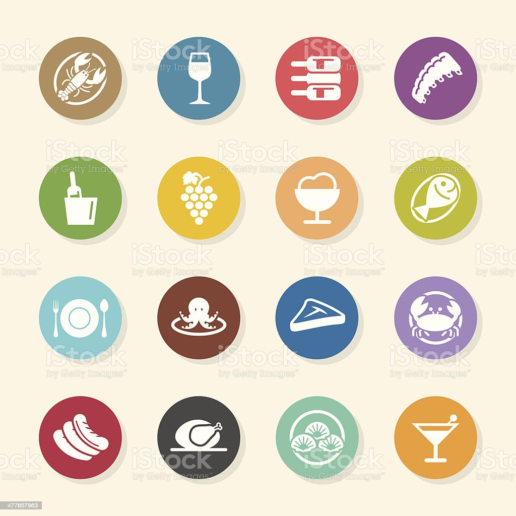 Dinner Icons - Color Circle Series vector art illustration