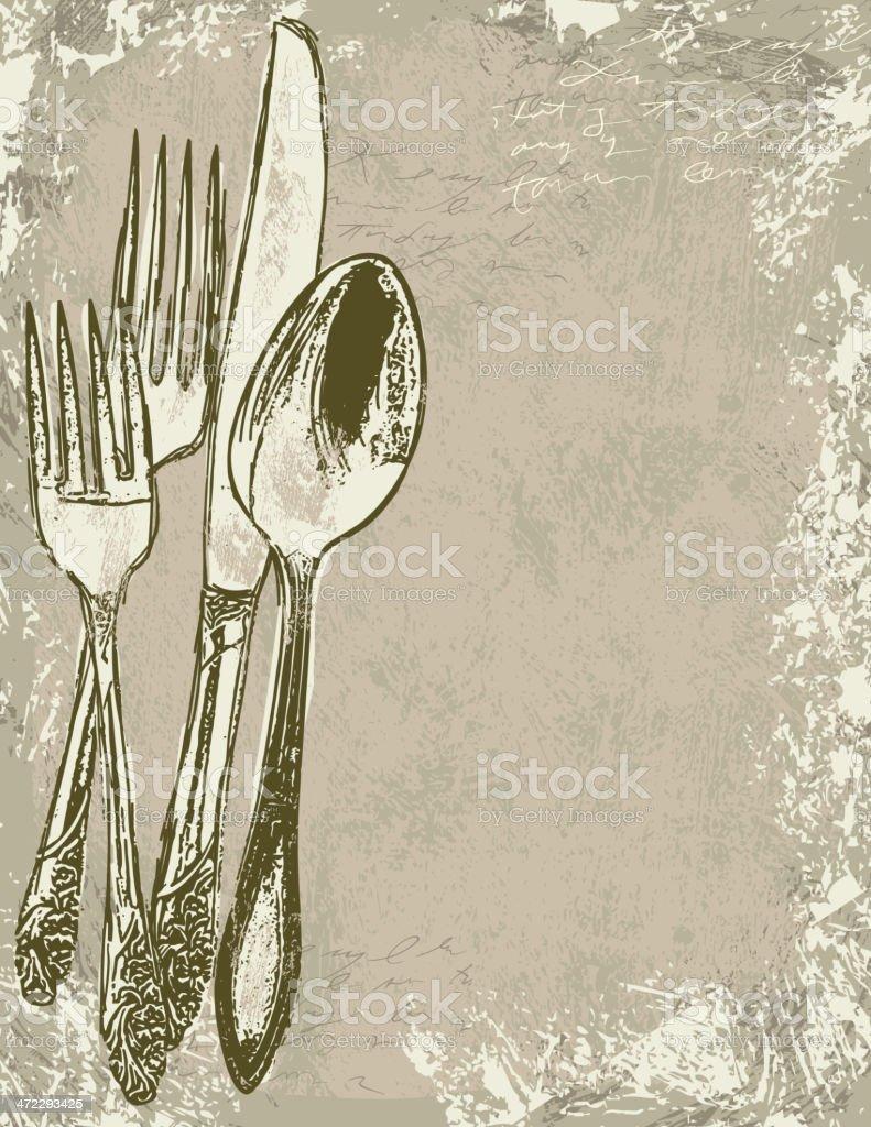 Dinner invitation background with utensils royalty-free stock vector art