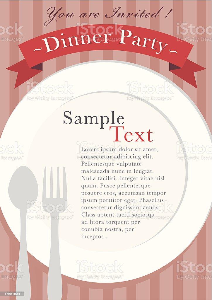 Dinner invitation design vector art illustration