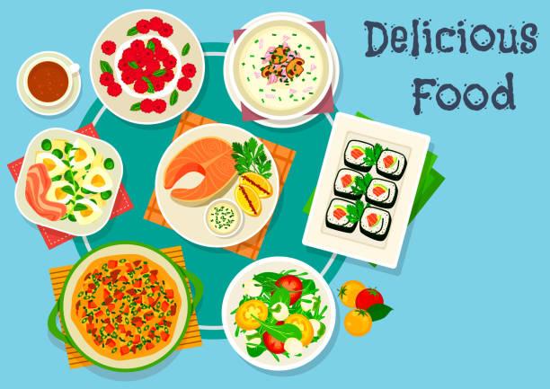 abendmenü mit käse-dessert-symbol - lachskuchen stock-grafiken, -clipart, -cartoons und -symbole