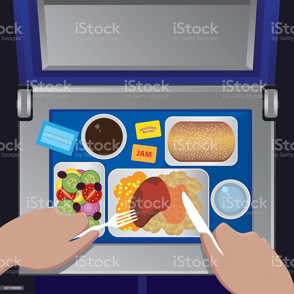 Dinner on the plane from first view vector art illustration