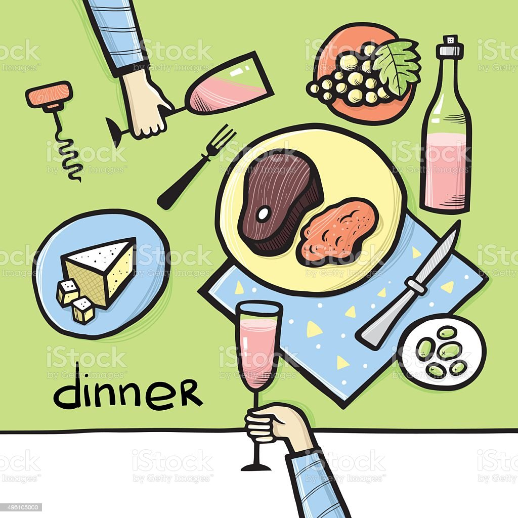 Dinner on the table. Vector illustration. vector art illustration