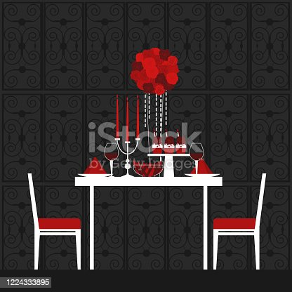 istock Dinner on Valentine's Day. Vector illustration. 1224333895