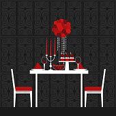 istock Dinner on Valentine's Day. Vector illustration. 1224333895