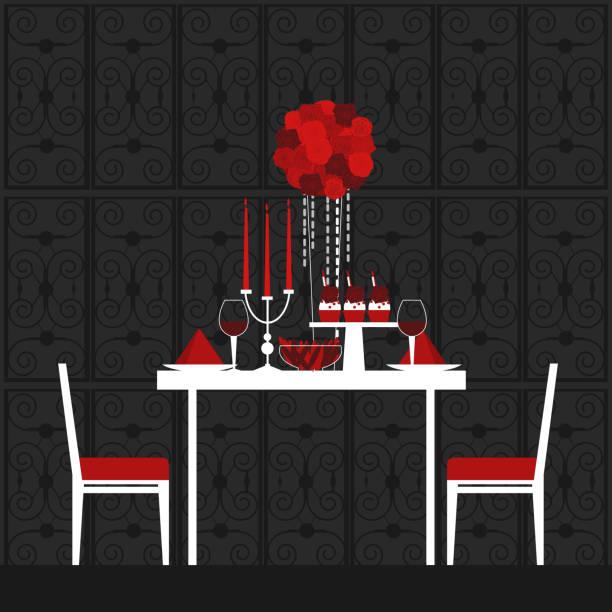 ilustraciones, imágenes clip art, dibujos animados e iconos de stock de cena el día de san valentín. ilustración vectorial. - conceptos y temas