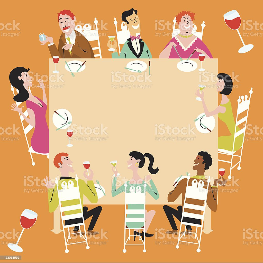 Dinner Party Celebration vector art illustration