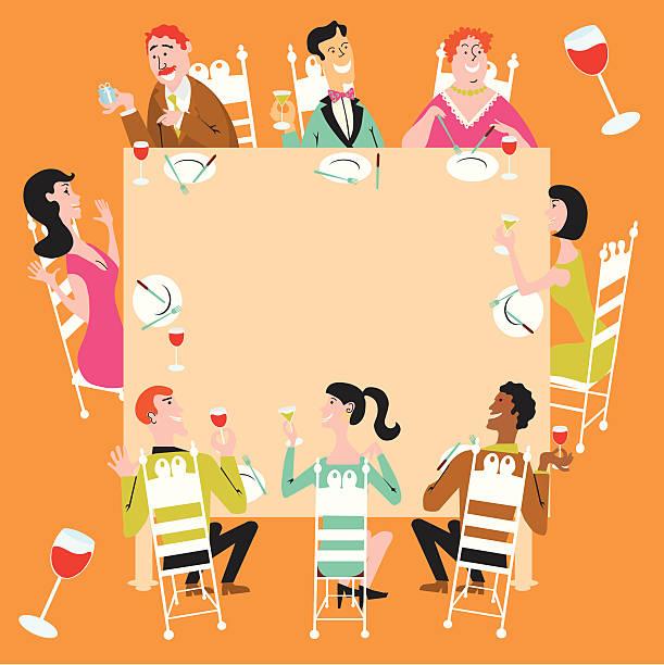 illustrazioni stock, clip art, cartoni animati e icone di tendenza di cena di festeggiamento - tavola imbandita