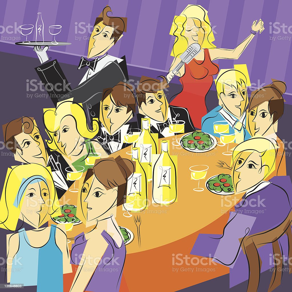dinner party vector art illustration