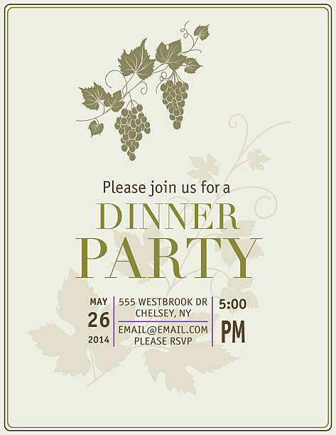 dinner party with grapes - black tie events stock illustrations, clip art, cartoons, & icons