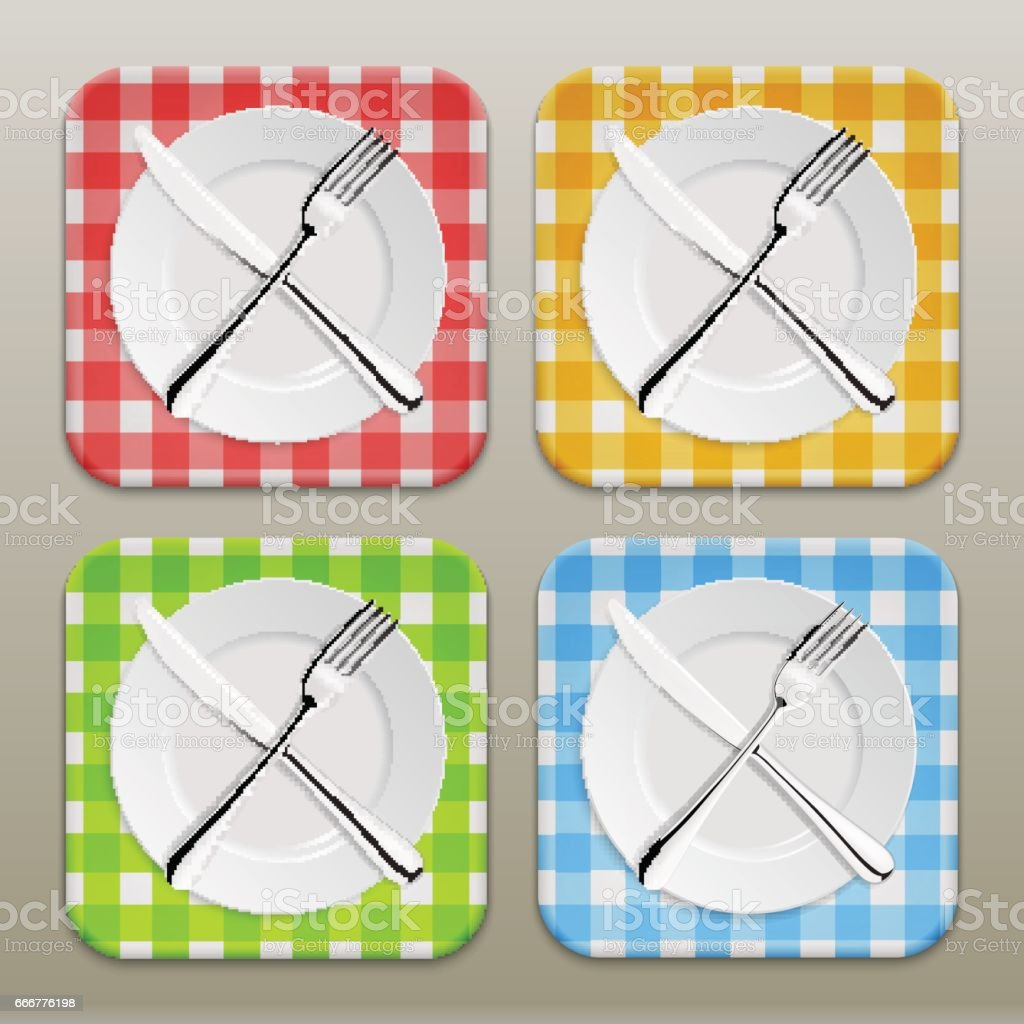 Dinner place setting icon set. Realistic white plate with silver fork and spoon on a checkered tablecloth background - red, yellow, green, blue. Design template in EPS10 vector art illustration