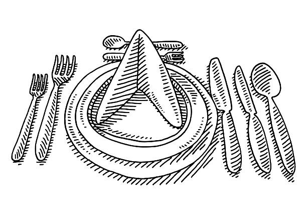 Dinner Place Setting In A Restaurant Drawing Hand-drawn vector drawing of a Dinner Place Setting In A Restaurant. Black-and-White sketch on a transparent background (.eps-file). Included files are EPS (v10) and Hi-Res JPG. celebration stock illustrations