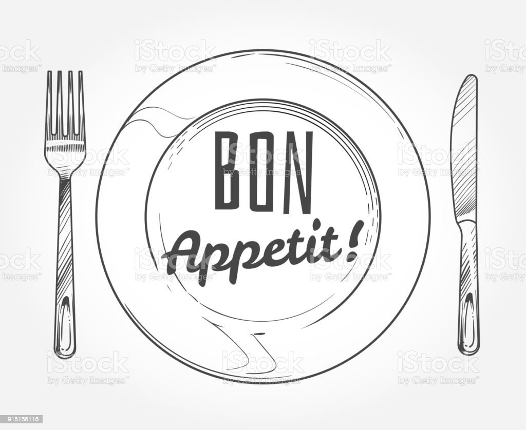 Dinner plate with knife and fork. Doodle sketch tableware and dish. Restaurant vector poster - arte vettoriale royalty-free di Abbigliamento formale