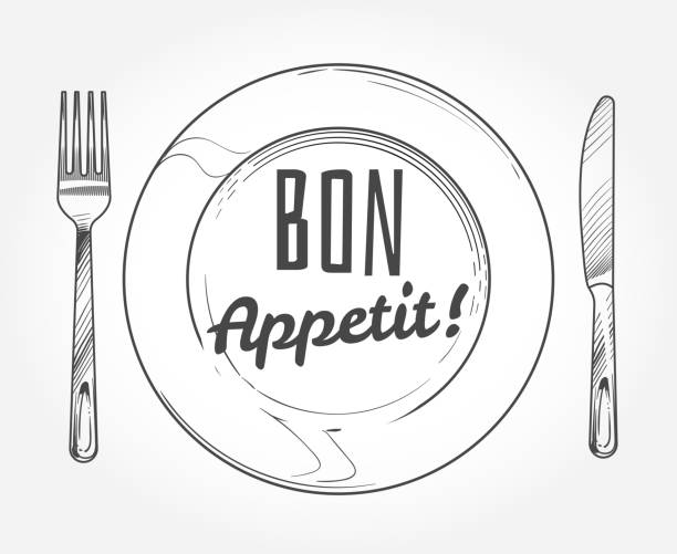 illustrazioni stock, clip art, cartoni animati e icone di tendenza di dinner plate with knife and fork. doodle sketch tableware and dish. restaurant vector poster - coltello posate