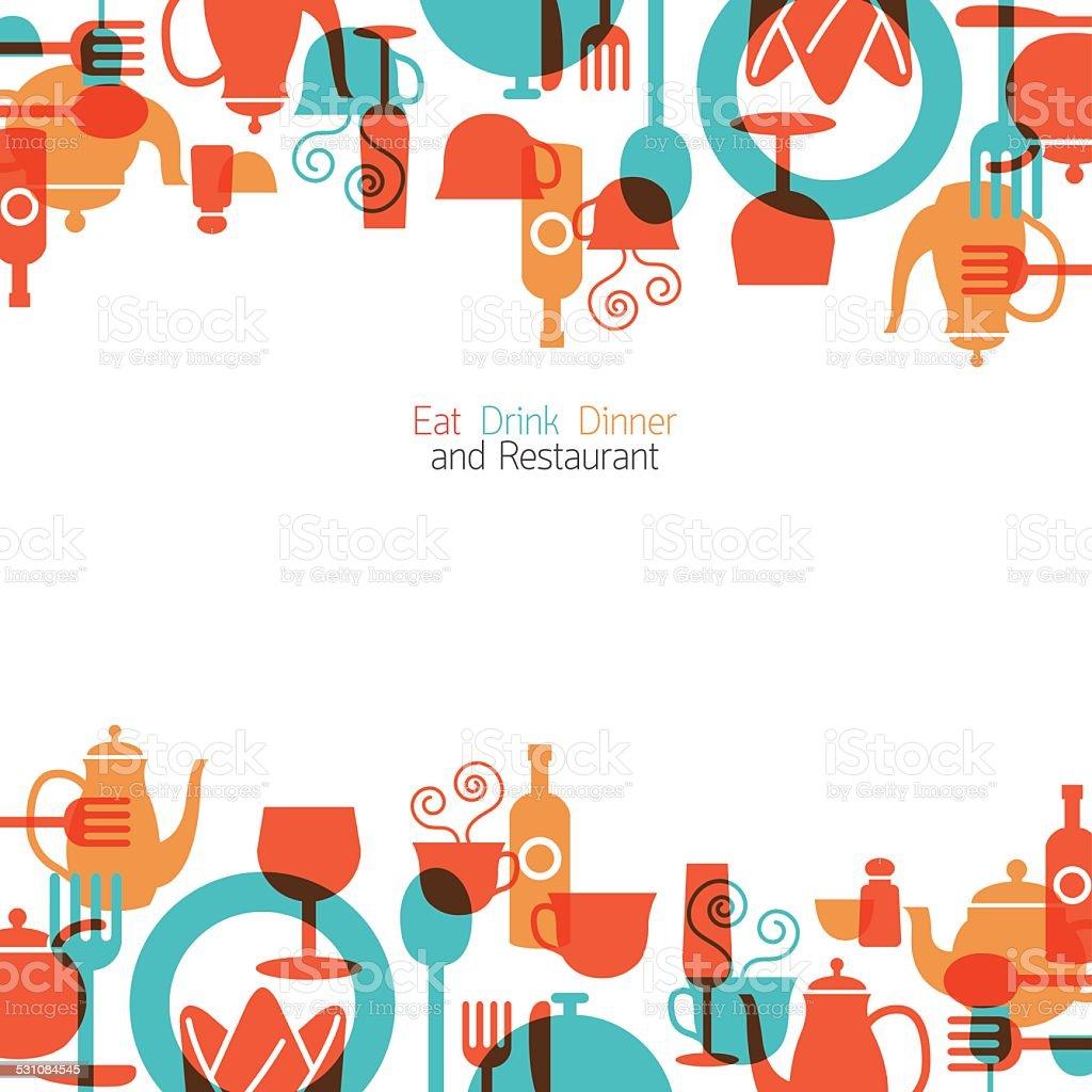 Dinner Restaurant and Eating Background and Frame vector art illustration