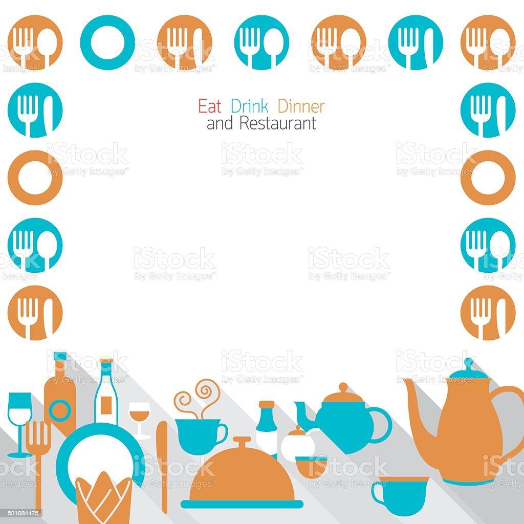 Dinner Restaurant and Eating Frame vector art illustration