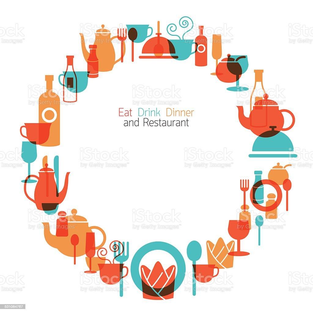 Dinner Restaurant and Eating Wreath vector art illustration