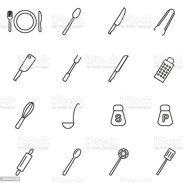 Dinner set or cutlery icons thin line vector illustration set vector id908968286?b=1&k=6&m=908968286&s=612x612&h=o9rmdhgongbz0meek048jut sn6nqr yonq7hj8cyhe=