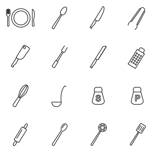 Dinner Set or Cutlery Icons Thin Line Vector Illustration Set This image is a vector illustration and can be scaled to any size without loss of resolution. rolling pin stock illustrations