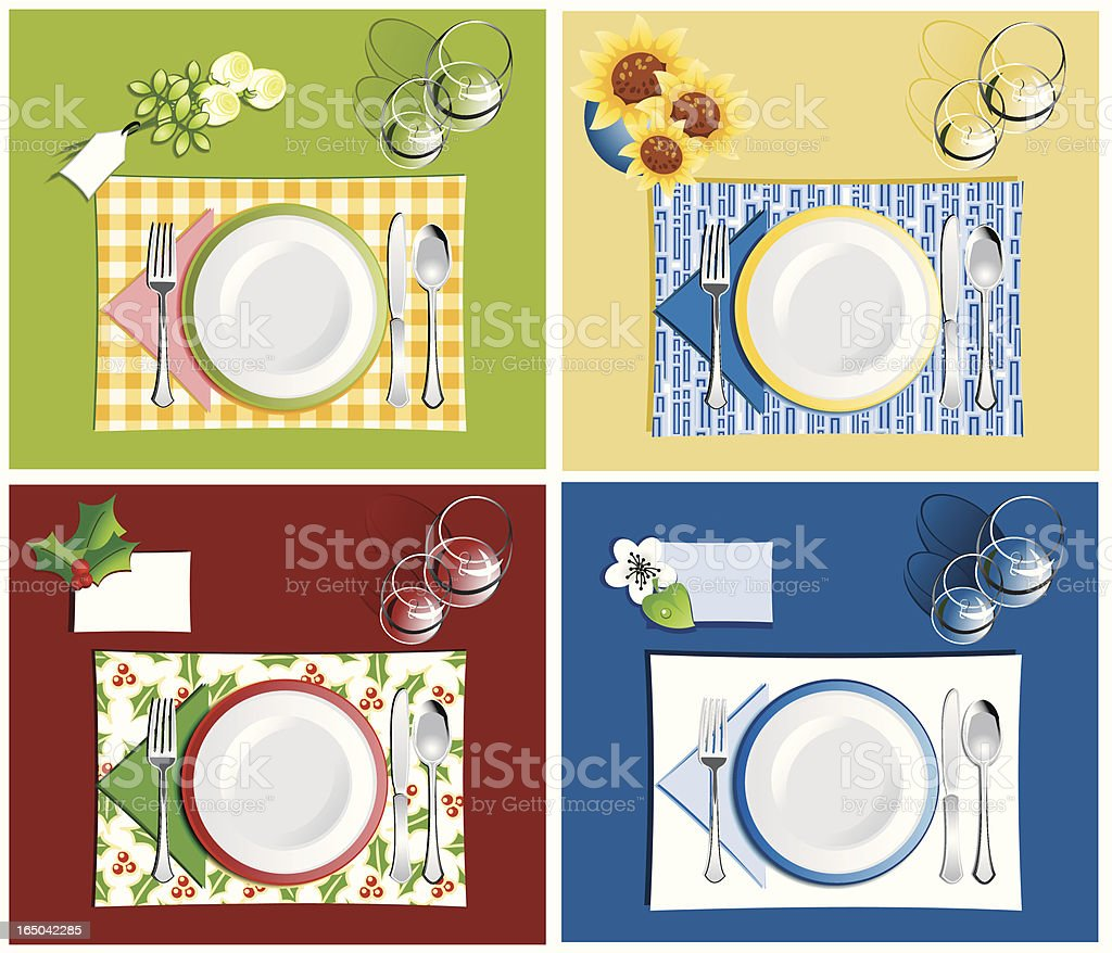 Dinner settings royalty-free stock vector art